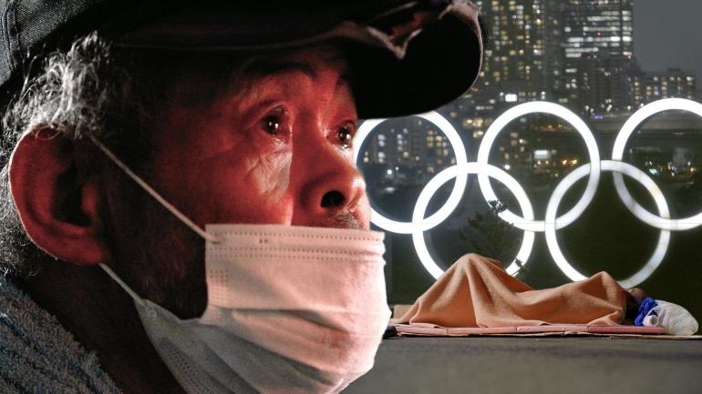 Siluet seorang Tunawisma berlatar belakang banner Olimpiade