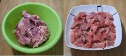 Ilustrasi gambar tulang dan daging sapi, setelah dicuci siap untuk direbus. Dokpri Yuliyanti