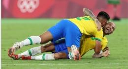Pemain Brazil rayakan gol kemenangan atas Spanyol di Olimpiade Tokyo 2020 (Foto: olympics.com)