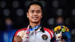 Tunggal putra Indonesia, Anthony Ginting meraih medali perunggu di Olimpiade 2020/Foto: ANTARA/Sigid Kurniawan