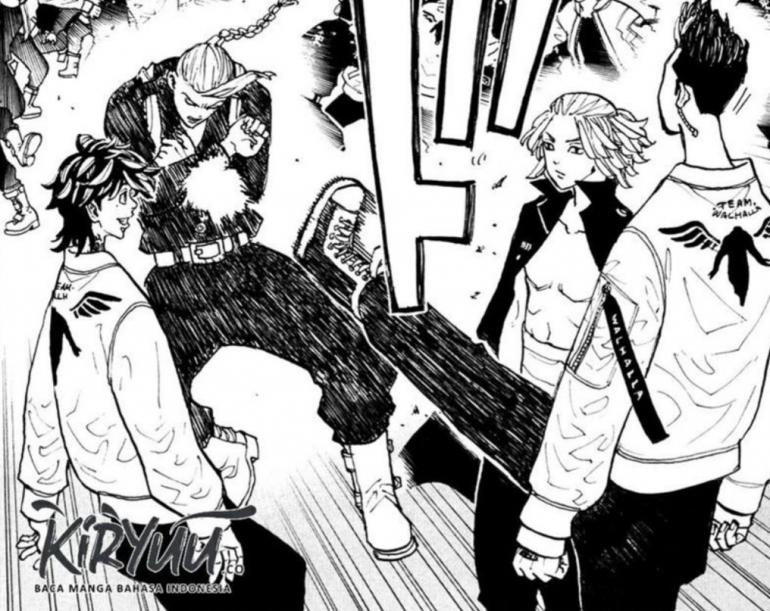Draken Vs Hanma, Mikey Vs Kazutora, highlight anime Tokyo Revengers episode 19. (Sumber: screenshot dari komiku.id)