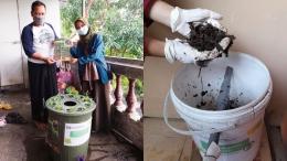 Pemberian hasil program kerja KKN berupa protoype BUDIKDAMBER dan contoh hasil pengolahan kompos/Dokpri