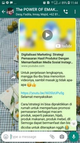 Sosialisasi video digitalisasi marketing kepada ibu-ibu melalui whatsapp