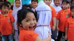 Kunjungan salah satu TK Khatolik ke TK Islam di Madiun, Jawa Timur 2019. Gambar: akurat.co