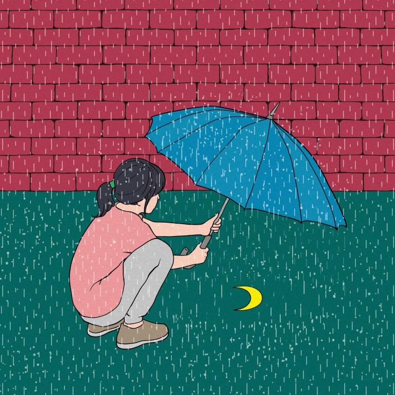 Ilustrasi seorang gadis di bawah hujan (Gambar: CDD20 Via Pixabay)
