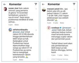 Tangkapan layar kolom komentar pertanyaan dan jawaban tentang pelaksanaan vaksin dosis 2 (sumber: Instagram Dinas Kesehatan dan Pemkot Surabaya)