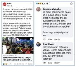 Tangkapan layar berita dan kolom komentar warganet (sumber: Instagram E100/Suara Surabaya)