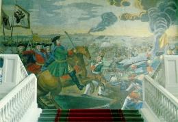 Mosaik Lomonosov paling megah yang menggambarkan Pertempuran Poltava. Sumber: Serge Lachinov