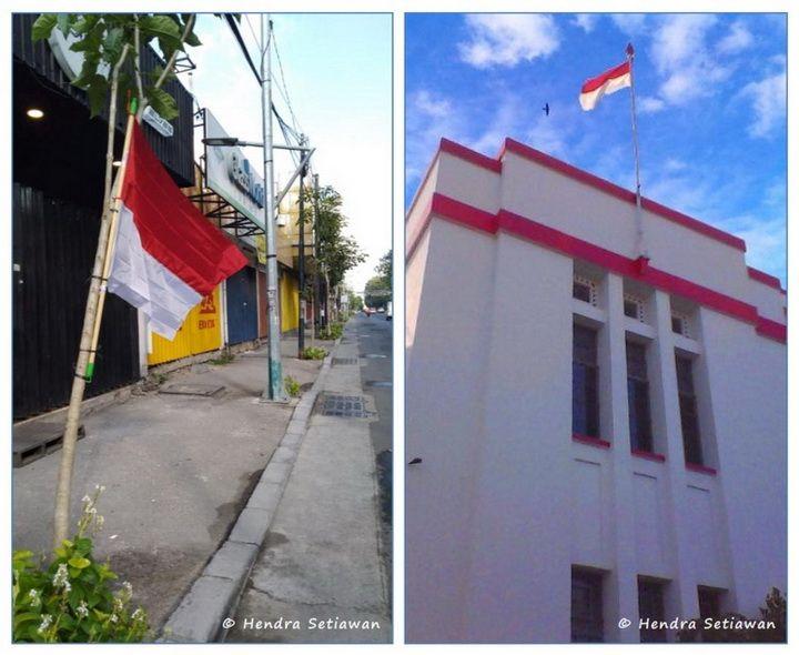Memasang bendera nasional di bulan Agustus sebagai rasa syukur kemerdekaan (foto: dok. pribadi)