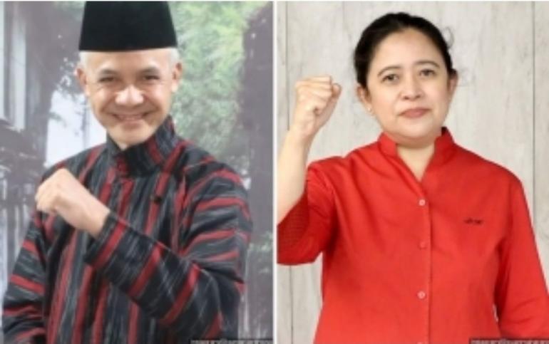 Gubernur Jawa Tengah Ganjar Pranowo dan Ketua DPR RI Puan Maharani. Foto by. Wowkeren.com