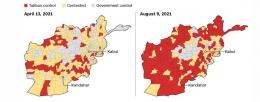 Dengan sangat singkat Taliban berhasil menguasai sebagian besar wilayah Afghanistan. Sumber: CNN