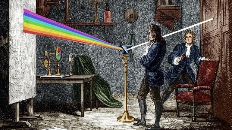 Newton mendispersikan cahaya matahari. Sumber: https://www.biography.com/news/how-isaac-newton-changed-our-world