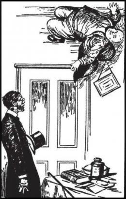 Pyecraft bergelantungan di langit-langit. Sumber: buku Physics for Entertainment, Book 1, hlm. 100.