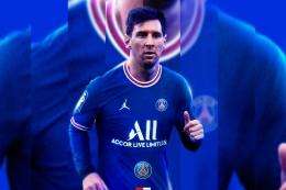 Lionel Messi dengan kostum PSG. Sumber: PSG / www.en.psg.fr