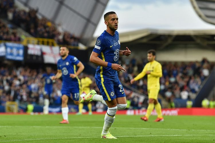 Hakim Ziyech pencetak gol pembuka bagi Chelsea (Foto AFP/Paul Ellis via Kompas.com)