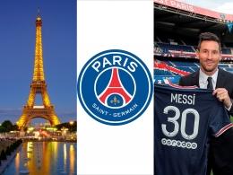 Kolase Eiffel, Logo PSG dan Messi. Sumber: Eiffel- dokumentasi pribadi, Logo PSG & Messi milik PSG