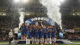 Chelsea merayakan juara Piala Super Eropa 2021. (via aa.com.tr)