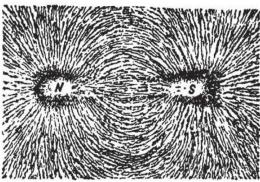 Serbuk besi dalam medan magnetik. Sumber: Sumber: buku Physics for Entertainment, Book 2, hlm. 159.