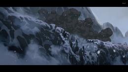 Ledakan kereta mampu menghancurkan jalur kereta yang ada di pegunungan. Sumber : Disney+