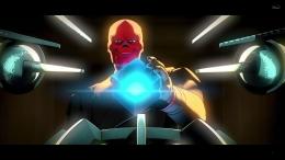 Red Skull menggunakan Tesseract untuk membuka portal luar angkasa. Sumber : Disney+