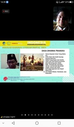 Sumber Doc Pribadi: Bapak Sinun Petrus Manuk sedang membacakan materi tentang Dasa Dharma Pramuka.