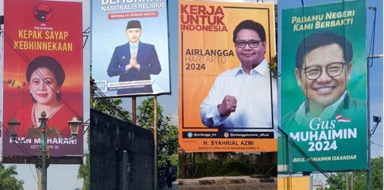 Baliho politisi menghiasi jalanan. Rm.id