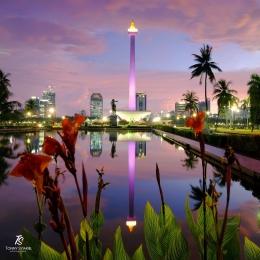 Patung Diponegoro dan Monas difoto dari sisi utara Monas. Sumber: dokumentasi pribadi