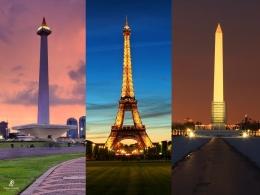 Monas bersanding dengan Menara Eiffel dan Monumen Washington. Sumber: dokumentasi pribadi