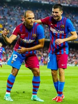Penyerang Barcelona Martin Braithwaite merayakan gol kemenangan timnya dalam laga perdana Barcelona kompetisi La Liga.Foto :laman Facebook Barcelona