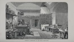Laboratorium Faraday di Royal Institution (ukiran 1870). Sumber: https://en.wikipedia.org/wiki/Michael_Faraday#/media/File:Faraday_Laboratory_1870_Plate_RGNb10333198.05.tif