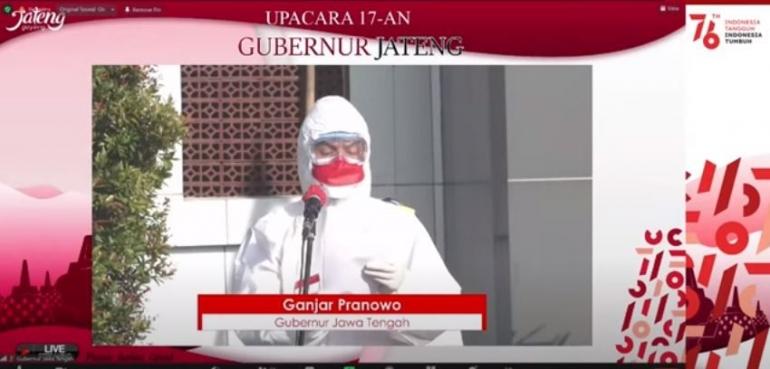 Ganjar Pranowo saat memimpin Upacara Peringatan Kemerdekaan RI ke-76 di Donohudan (Gambar: tangkapan layar kanal youtube Pemprov Jawa Tengah)