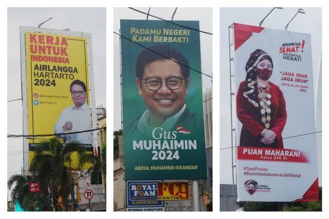 Baliho politisi menuju pilpres 2024 (bukan aksi iklan politisi, hanya sekadar contoh, foto dari kumparan.com)