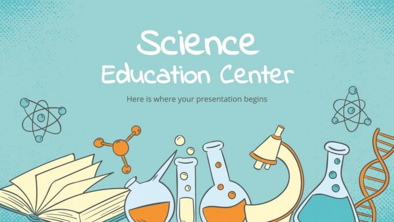 Pusat pendidikan sains. Sumber: https://slidesgo.com/theme/science-education-center