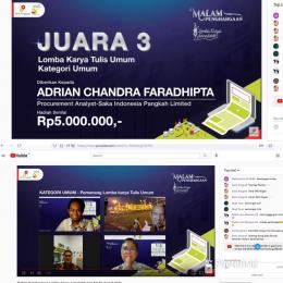 Juara 3 Nasional Karya Tulis Kategori Umum dalam Acara Lomba Karya Jurnalistik SKK Migas 2021. Sumber: dokumentasi pribadi