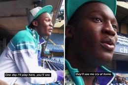 Lukaku saat remaja mendapatkan kesempatan mengunjungi Stamford Bridge, London. Sumber: via Footballreporting.com