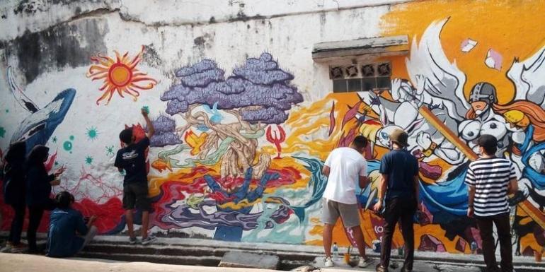 Ilustrasi mural yang efektif, perhatikan unsur moral (gambar dari kompas.com)
