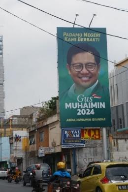 Baliho bergambar Gus Muhaimin Iskandar, Jalan Radin Intan Bandar Lampung(Sumber: Kumparan.com- Foto Sidik Aryono Lampung Geh)