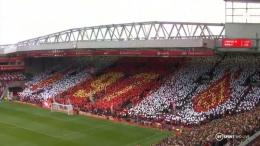 Momen saat suporter dan pemain Liverpool memberi penghormatan untuk Devine/ Sumber foto dilansir dari Liverpool_FC1 telegram