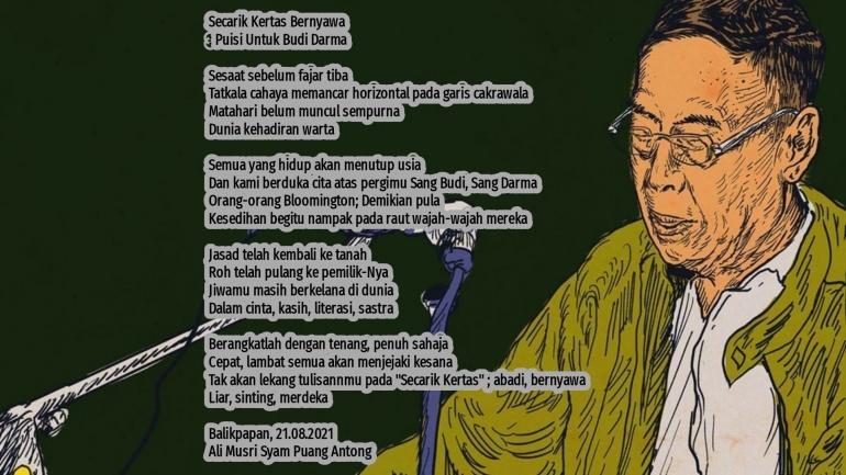 Puisi Secarik Kertas Bernyawa, Puisi Untuk Budi Darma / tirto.ID By Text On Photo