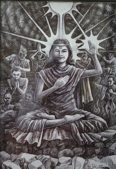 Semburat putih pelangi Kasih ( lukisan Bp.Y.P Sukiyanto )