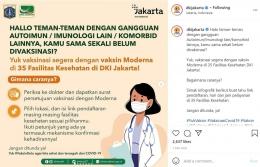 Info vaksinasi yang dibagikan melalui akun Instagram @dkijakarta