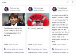 Nama Conte pun disebut jurnalis terkenal, Piers Morgan lewat cuitannya. Sumber: Google/Twitter/Search: Arteta