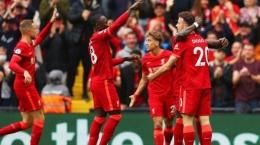 Para pemain Liverpool merayakan gol ke gawang Burnley dalam laga pekan kedua Liga Inggris 2021-2022 di Stadion Anfield, Sabtu (21/8/2021).  Sumber: Twitter Official Liverpool twitter.com/LFC via Tribunnews