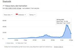 Grafik kasus baru Covid-19 Indonesia sampai 24-08-2021 (Sumber : CSSE COVID-19 Data)