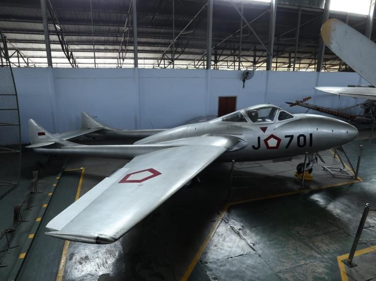 Pesawat de Havilland Vampire eks-RNZAF yang sekarang berada di Museum Dirgantara Mandala, Yogyakarta. (wikipedia.com)