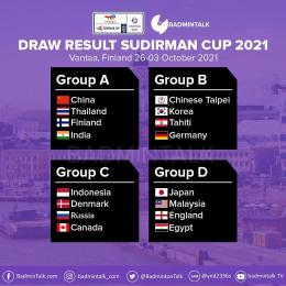 Foto : BadminTalk (Ilustrasi hasil drawing untuk Piala Sudirman Cup 2021)