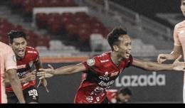 Selebrasi Gol Muhammad Rahmat Untuk Bali United vs Persik Kediri . Sumber : Liga 1