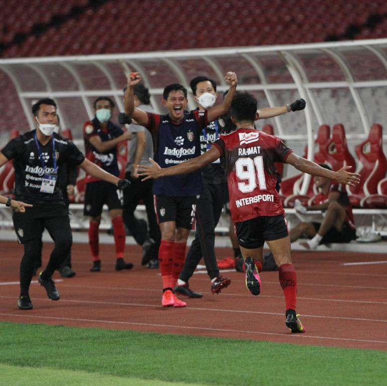 Selebrasi gol Muhammad Rahmat Bali United vs Persik Kediri di Liga 1 2021/2022 . Sumber : @GOAL_ID