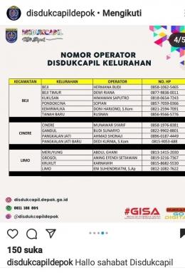 Beberapa nomor operator DISDUKCAPIL kelurahan di wilayah Depok (Tangkapan layar dari akun Instagram @disdukcapildepok, dok.pribadi)