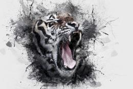 Ilustrasi lukisan kepala harimau. (Gambar: ArtTower Via Pixabay)